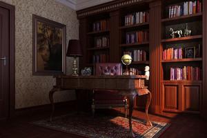 美式古典风格别墅书房装修效果图