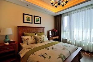 美式田园风格公寓卧室装修效果图