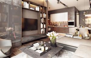 70平米现代loft风格男生单身公寓装修实景图