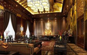 中式复古风格三居室客厅装修效果图