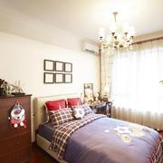 三居室美式风格卧室装修实景图