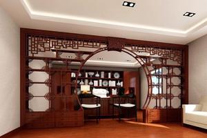 中式风格书房博古架隔断设计实景图