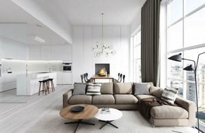 别墅型现代简约风格客厅整体装修效果图