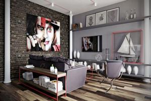 60平米后现代风格单身公寓装修效果图
