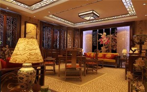 复古中式大户型客厅装修效果图