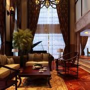 中式别墅客厅窗帘装修效果图