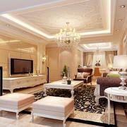 别墅型欧式风格奢华客厅吊顶装修效果图