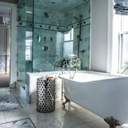 小户型简约风格卫生间玻璃隔断设计效果图