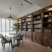 别墅型美式风格书房书架装修效果图