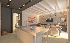 大户型简欧风格精致开放式厨房装修效果图