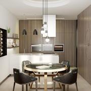 小户型现代简约风格开放式厨房餐厅装修效果图
