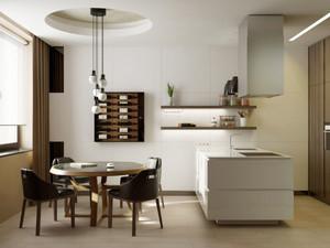 都市简约风格厨房餐厅设计效果图