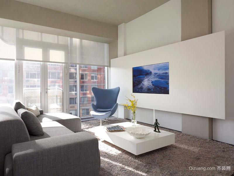 别墅型现代时尚创意客厅电视背景墙装修效果图
