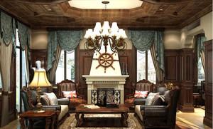 欧式风格大户型客厅窗帘装修效果图