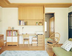 日式原木风小户型书房装修效果图