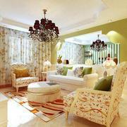 田园清新风格二居室客厅装修效果图