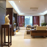 大户型新中式风格客厅窗帘设计效果图