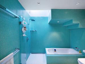 蓝色简约自然舒适室内卫生间设计效果图