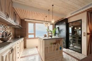 自然原木开放式厨房装修效果图
