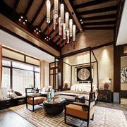 古典中式风格复式阁楼吊顶装修效果图