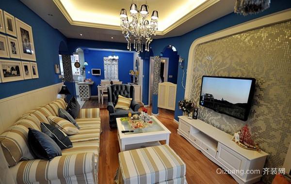 120平米地中海风格客厅电视背景墙装修效果图