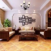 100平米古典中式客厅照片墙图片欣赏