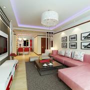 110平米现代简约风格客厅吊顶装修效果图