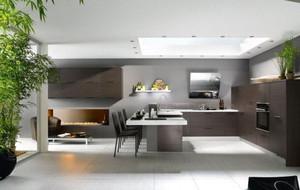 现代风格别墅型精致开放式厨房装修效果图大全