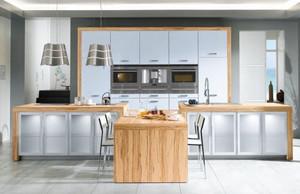 大户型现代简约浅色温馨开放式厨房装修效果图