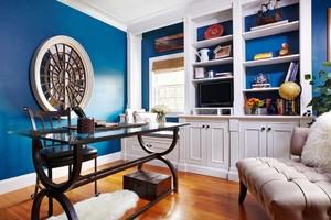 地中海风格三居室室内书房背景图设计装修效果图