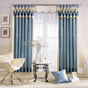 时尚欧式大户型客厅窗帘装修效果图