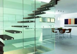 现代简约风格复式楼创意玻璃楼梯装修效果图