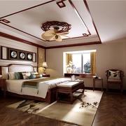 中式风格110平米卧室吊灯装修效果图