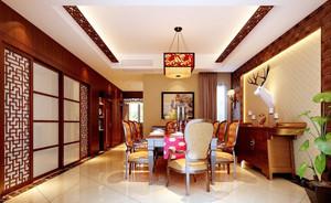 大户型新中式风格精致餐厅设计实景图