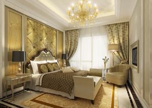 130平米欧式风格卧室欧式吊灯装修效果图赏析
