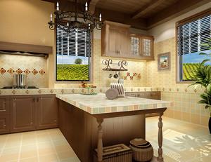 大户型欧式田园风格开放式厨房装修效果图