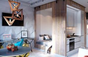 后现代风格时尚色彩搭配单身公寓装修效果图