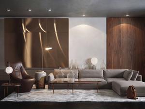 130平米现代风格客厅沙发设计装修效果图