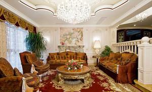 欧式风格大户型客厅水晶灯装修效果图
