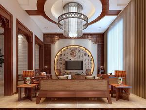 二居室中式风格客厅电视背景墙装修效果图
