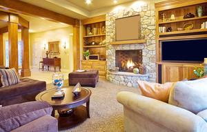300平米别墅美式风格客厅壁炉效果图