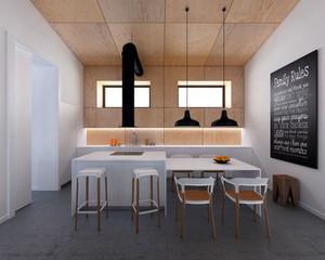 现代简约风格时尚厨房吧台装修效果图赏析