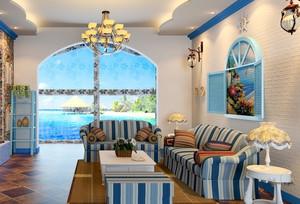 单身公寓地中海风格客厅装修效果图