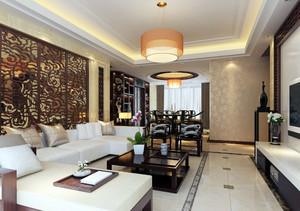 大户型中式风格客厅隔断设计效果图