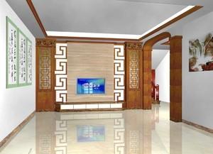 中式风格三居室客厅电视背景墙装修效果图