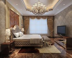 欧式风格大户型卧室窗帘设计效果图