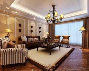 复古美式风格别墅客厅水晶灯设计效果图赏析