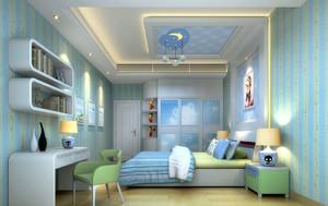 20平米都市简约风格蓝色主题儿童房卧室装修效果图