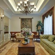复古美式风格大户型客厅装修效果图