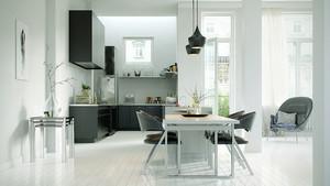 现代简约风格大户型开放式厨房装修效果图